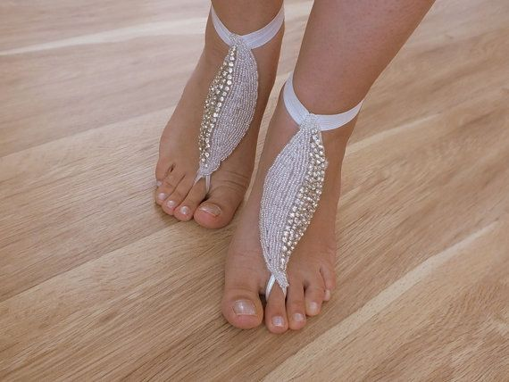 Rhinestone anklet  Beach wedding barefoot sandals by WEDDINGHome, $32.00