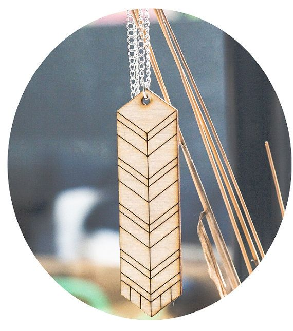 Wooden geometric Feather Necklace I - Gift wrapped via Etsy