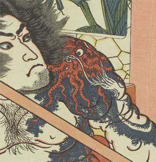 太田記念美術館・ タコとイカの彫物(刺青)もありました。もともとの水滸伝の物語で彫物をしているのは史進・阮小五・燕青・魯智深の4人ですが、国芳の「通俗水滸伝」では15人が彫物をしています。国芳は意図的に彫物を多く描こうとしています。(部分)