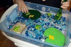 Pond Sensory Bins~  I love the gems as water