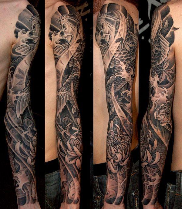 Black And Grey Koi And Chrysanthemum Flowers Sleeve Japanese Tattoo By George Bardadim Koi Tattoo Sleeve Japanese Sleeve Tattoos Japanese Tattoo