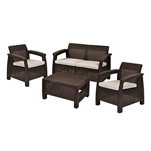 Corfu Brown 4Piece AllWeather Resin Patio Seating Set with Mushroom Cushions *** Check out this .