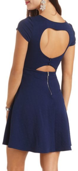 $29, Geo Textured Heart Cut Out Skater Dress by Charlotte Russe. Sold by Charlotte Russe. Click for more info: http://lookastic.com/women/shop_items/80325/redirect