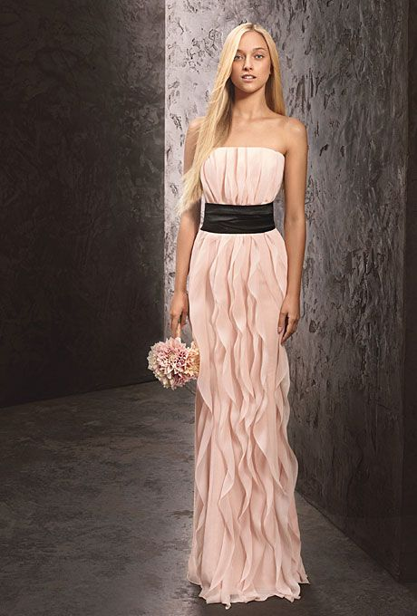 Brides.com: Long, Strapless Bridesmaid Dresses in Every Color. Long, Strapless Bridesmaid Dress: White by Vera Wang. Strapless chiffon dress with sash, style VW360102, $188, White by Vera Wang, available at David's Bridal  See more White by Vera Wang bridesmaid dresses.