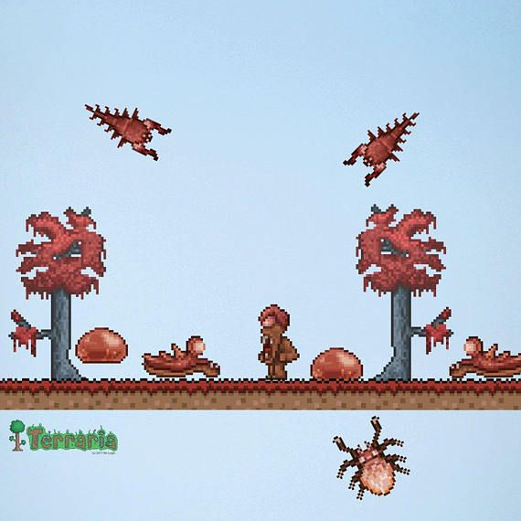 Terraria Crimson Biome Add On Wall Decal Set Gaming Etsy Minecraft Banner Designs Wall Decals Terraria Party Decorations