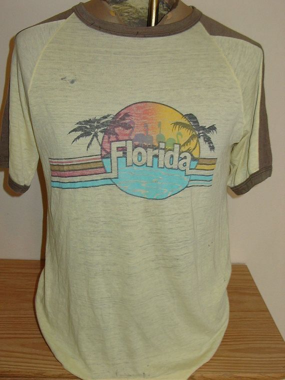 vintage 1980s SUPER THIN florida beach t shirt - soooooooo thin