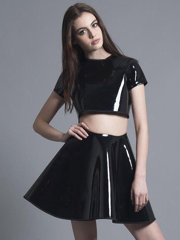 Black PVC Casie Skirt