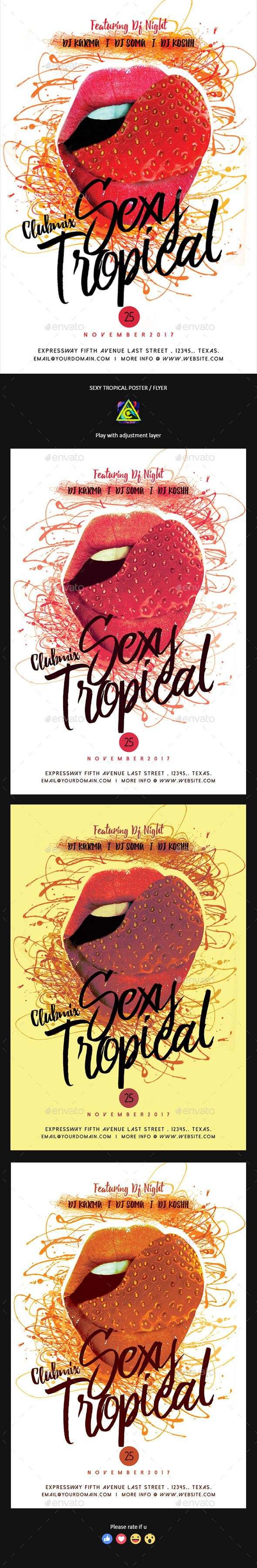 Sexy Tropical Poster / Flyer — Photoshop PSD #exotic #rnb • Available here ➝ https://graphicriver.net/item/sexy-tropical-poster-flyer/20881094?ref=pxcr