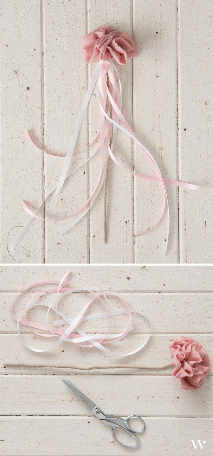 Flower Girl Wand    How To    DIY    Grey and Pink