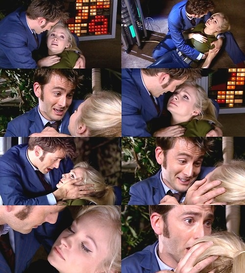 I don't think that David Tennant had to act at all in this scene, for the crying part I mean. Just look at him! He cares SO much, but he should, after all, that's his wife dying in his arms. All he would have to do is think about his wife dying right then, and it would give that sort of reaction. It's just incredible to me.
