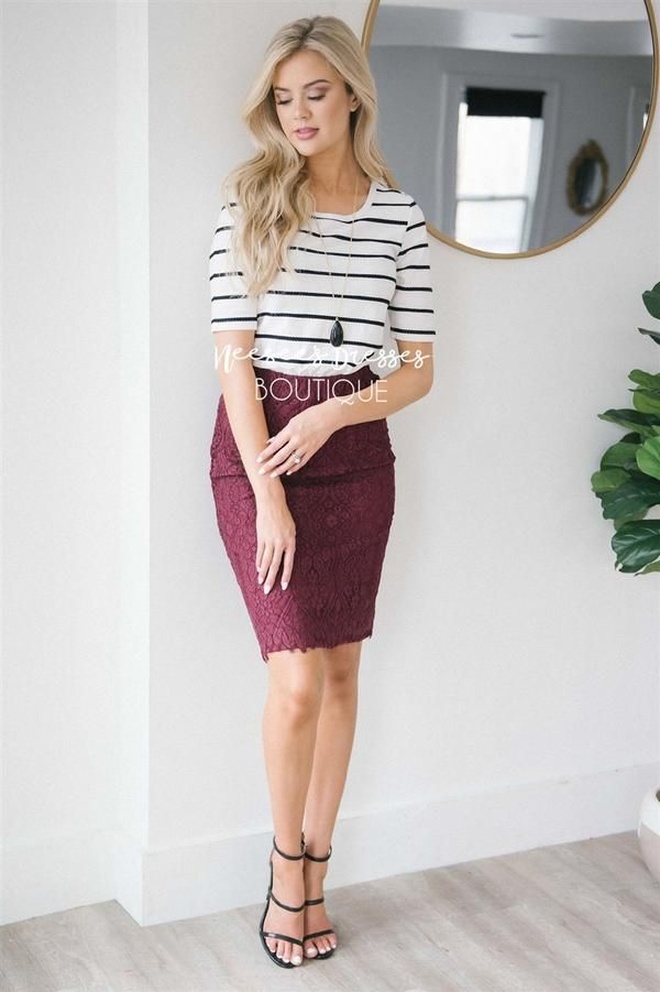 252cae94e5 Lovely Wine Lace Pencil Skirt in 2019 | Mindy's Style | Floral skirt ...