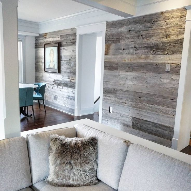 Reclaimed grey barn board feature walls using barnboardstore.com classic grey barn board