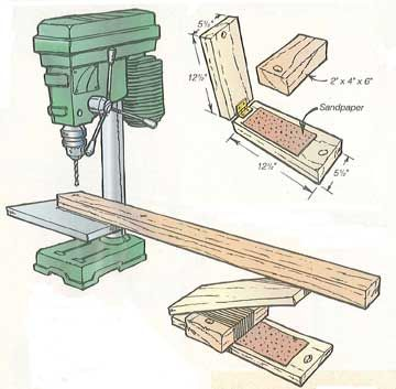When using my bench model drill press on long pieces of wood, I often run into trouble holding the stock level as I drill one end.