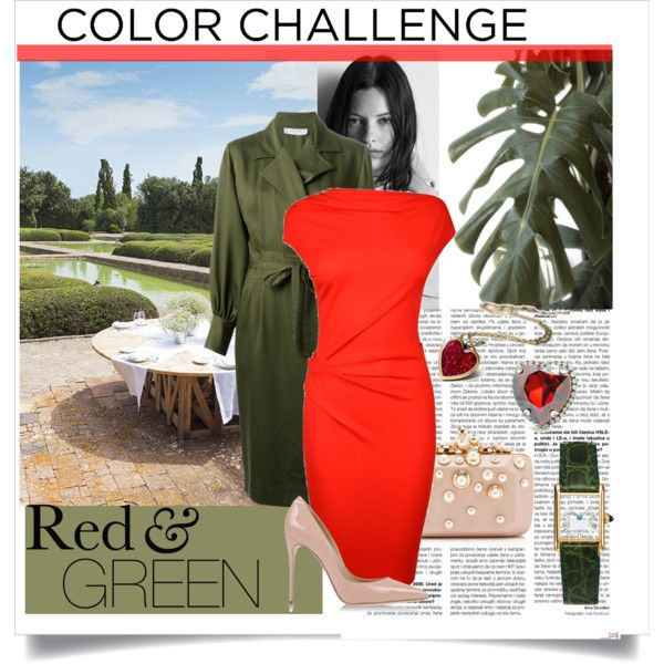 """Red green"" by gelykou on Polyvore"