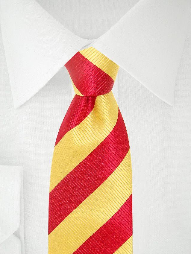 Cravate jaune poussin à bandes rouge vif