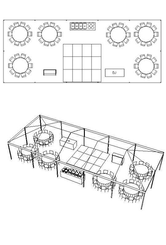 20' x 50' Tent for 60 People with Bar, Buffet, DJ & Dance Floor - Tent Floor Plan for outdoor wedding - $775.00 estimate cost for tent