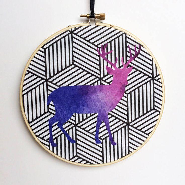 Watercolor Deer Hoop Art, Photo Hoop Art, Embroidery Hoop Art, Embroidery Hoop Decor, Hanging Wall Art, Canvas Hoop Decor, Wooden Hoop by RegalosOnline on Etsy