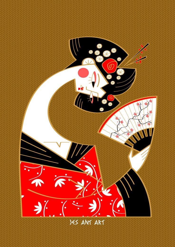 Geisha by JesAntArt  #geisha #japan #tradition #fan #illustration