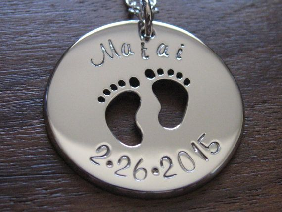 Silver Baby Feet Pendant Necklace with Name by GorjessJewellery