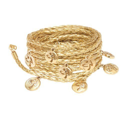 "Zumba Metallic Logo Wrap Bracelet (Gold/Aquamarine, One Size) by Zumba Fitness. $11.99. These bracelets are truly multifaceted They can wrap around almost anything From your wrist or neck, to your waist, ankle or gym bag…the possibilities are endless Wrap just one, or twist both colors. Either way, you'll never be done answering the question: ""Where did you get that??"" 100-Percent Brass (Nickel Free), Leather Cord. Save 52%!"