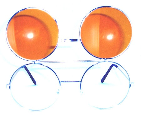 Newport Tinted Round Flip-Up Glasses - 408A Yellow