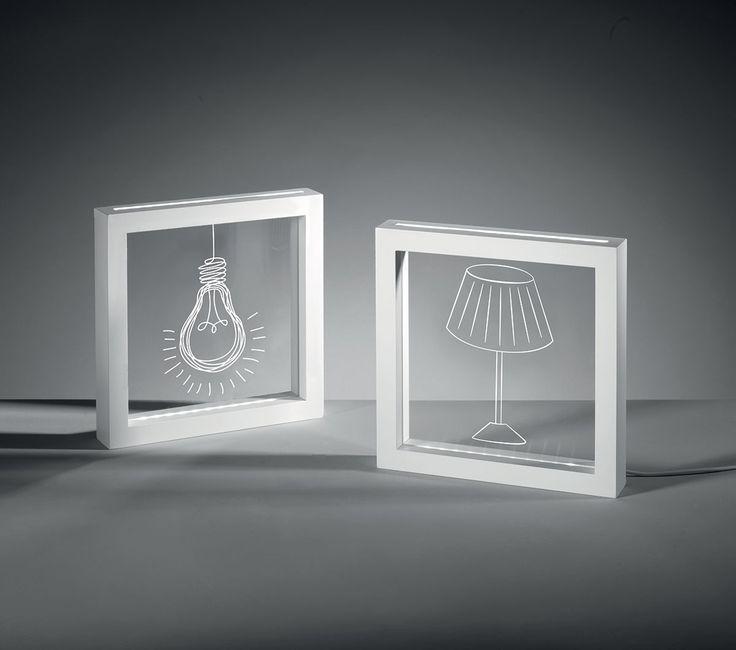 Pannelli led BULB-LAMP    pannelli led 'bulb' e 'lamp', con cornice esterna in mdf laccato bianco, serigrafia e alimentazione con trasformatore e adattatore usb  colore: bianco  dimensioni: 23x23