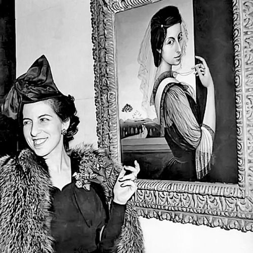 Milena Pavlović-Barili  with her Self-portrait (1939).  Pavlović-Barili (1909-1945) was a Serbian painter and poet. The topics of her work varied from portraits to imaginative interpretations of biblical stories. The motifs often included dream-like situations, veils, angels, statues of Venus goddess, and Harlequins.