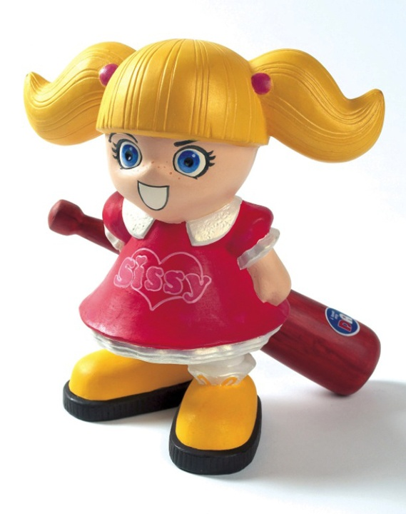 TDR Sissy vinyl toy  // Flashbacks to ill-conceived tattoos and the age of line art graphics