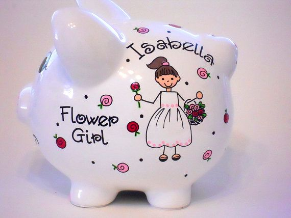 Gifts For Girls On Wedding: Flower Girl Gift Personalized Piggy Bank For Wedding