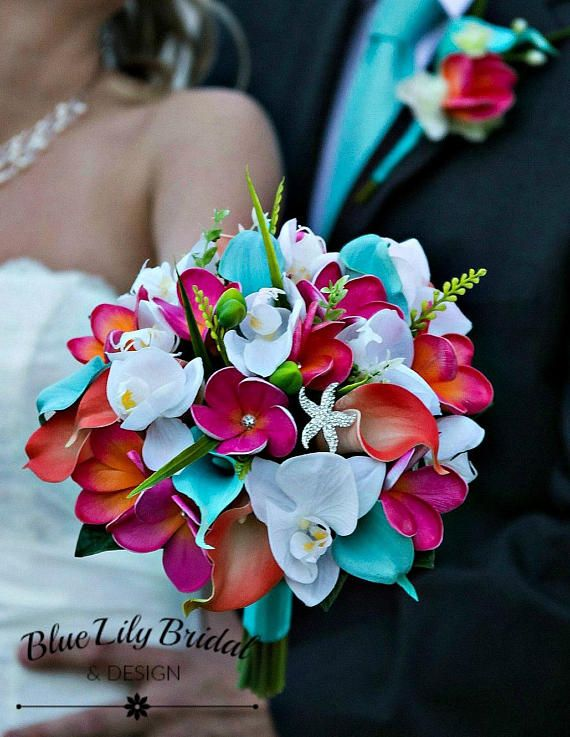 Bridal Bouquet Faux Flowers Beach Wedding Guava Coral Fuchsia