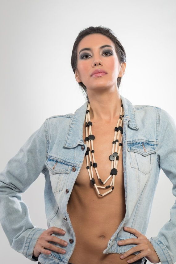 Long triple wooden necklace natural and black light by LauraRosa