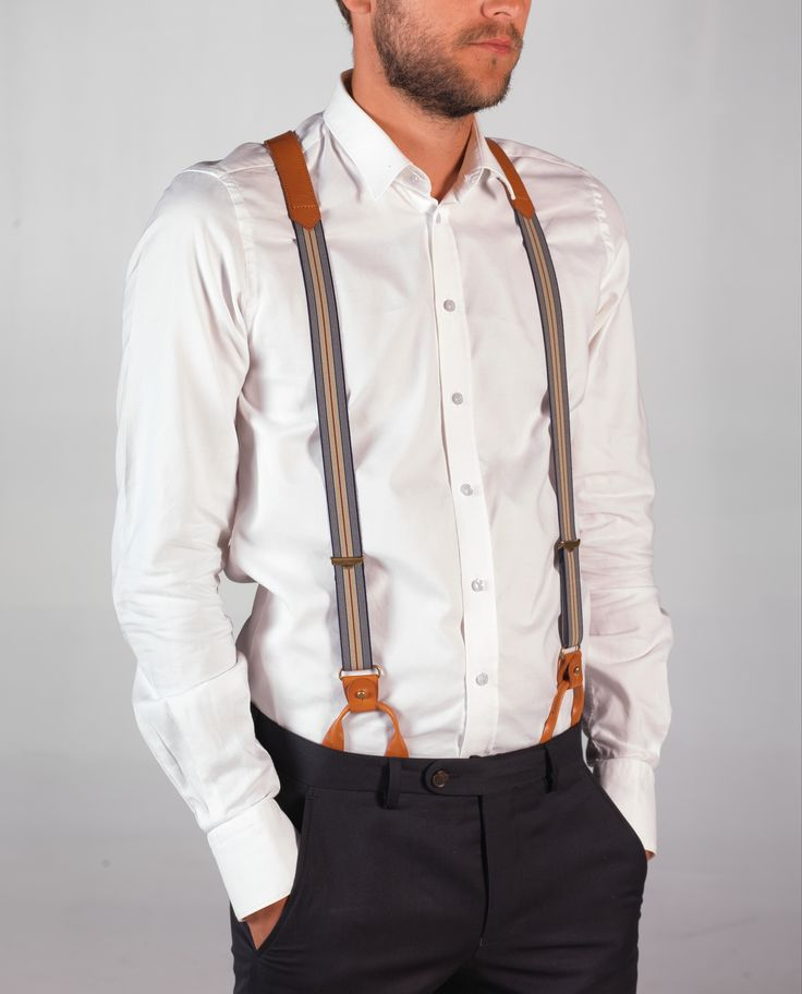 THIS IS A UNIQUE PAIR OF LEATHER SUSPENDERS. DESIGNED BY MAYENNE NELEN FOR CAFE COSTUME. YOU CAN CHOOSE TO WEAR THE SUSPENDERS WITH CLIPS OR BUTTONSMADE IN BELGIUM,  OUT OF HIGH QUALITY ITALIAN LEATHER, WITH CAREFULLY SELECTED FABRIC.