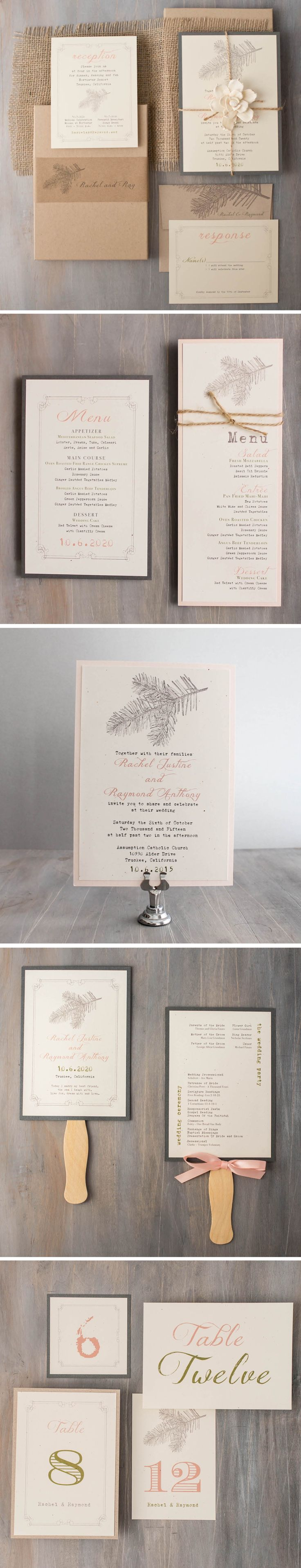 Rustic inspired blush, taupe & moss green wedding invitations | Customizable | Beacon Lane | Shop the entire collection at beaconln.com