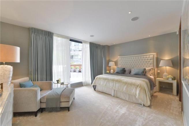 Master Bedroom, oak doors with greys, duck egg blue and cream