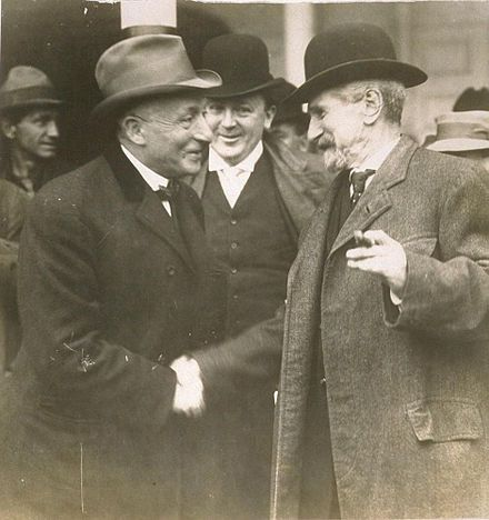 Political boss Abe Ruef of San Francisco on his way to San Quentin State Prison after he was convicted in the San Francisco Graft Trial of 1907-1908.
