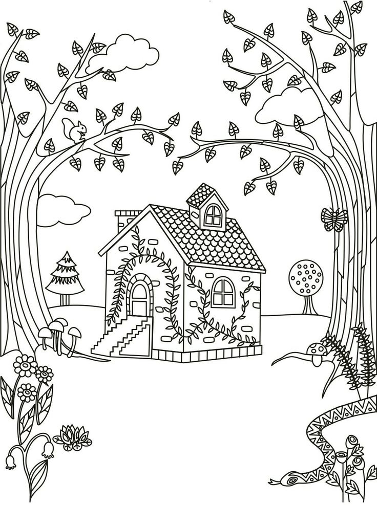 cottage coloring pages - photo#3