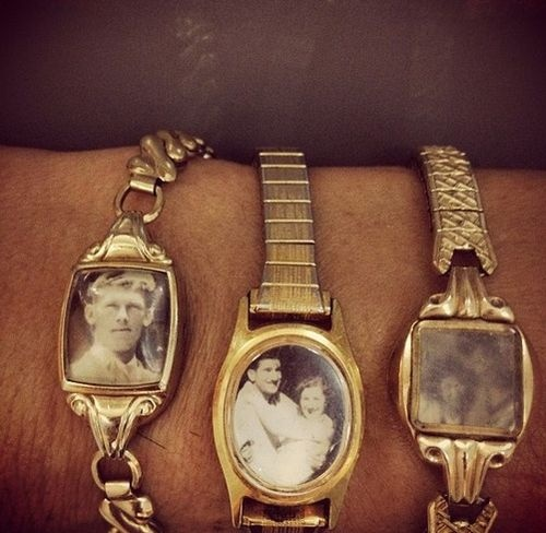 Bracelets made from old watches and cherished photos