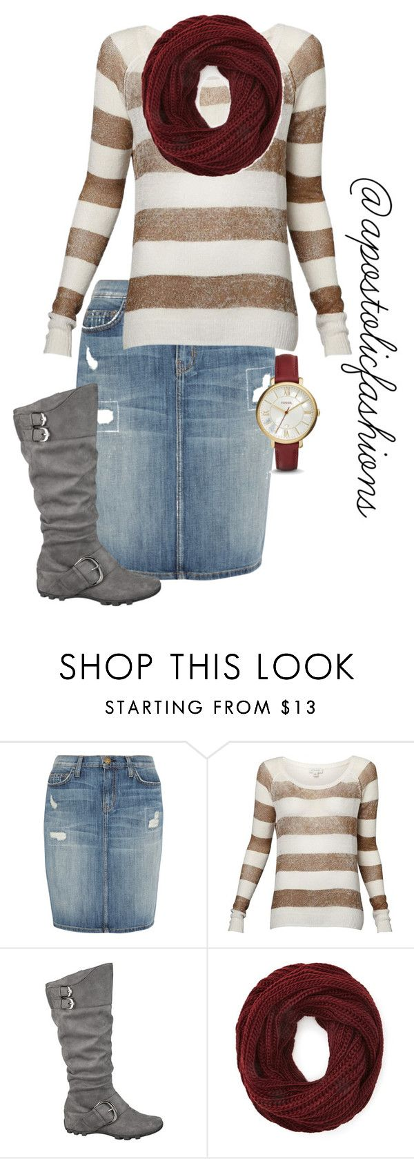 """""""Apostolic Fashions #1256"""" by apostolicfashions on Polyvore featuring Current/Elliott, Witchery, maurices, Forever 21 and FOSSIL"""