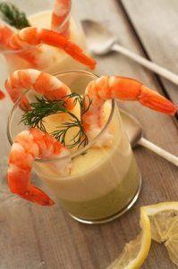 Photo de la recette Verrines de crème d'asperges et crevettes
