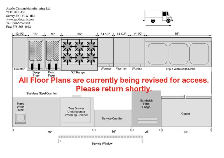 Food Truck Floor Plans Schematics and Layouts for Apollo Food