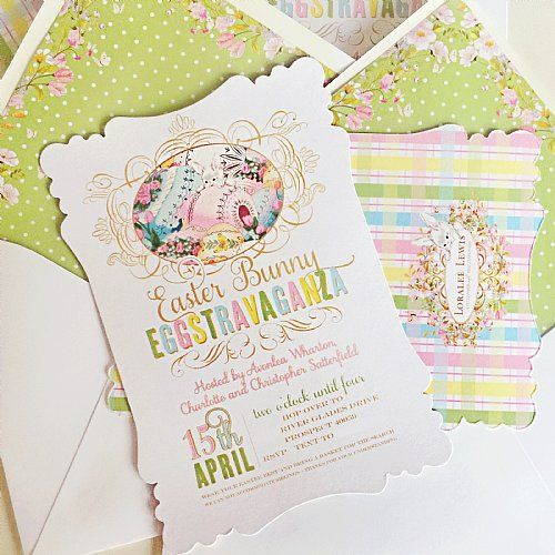 Easter Eggstravagance Invitation by Loralee Lewis, www.LoraleeLewis.com, Fine Stationery and Event Paper shipped to your home since 2009.