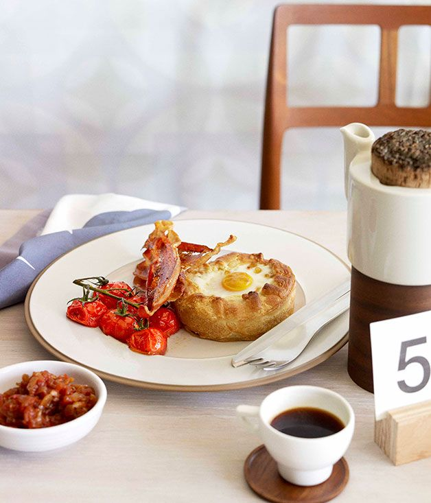 Breakfast pies with tomato chilli jam and crisp speck - Gourmet Traveller
