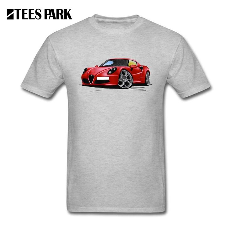 Slim Fit T Shirt Alfa Romeo 4C Red Youth Car Crewneck Short Sleeved T-Shirts New Style Men's Customised T Shirts #Affiliate
