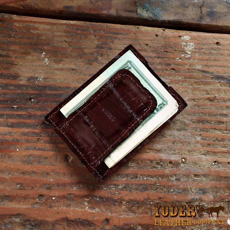 Brown Eel Skin Amish Handmade Magnetic Money Clip Wallet - Real Eel Leather #YoderLeatherCompany #IDWallet