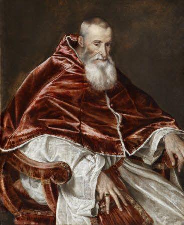 Pope Paul III, Alessandro Farnese (1468-1549) Son of Pierluigi Ranuccio Farnese and Giovannella Caetani. Portrait by Titian