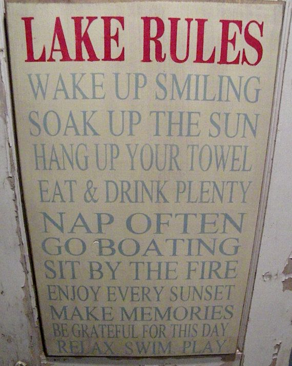 """Extra Large 14""""x24"""" Rustic Cabin Lake Cottage Rules Sign Primitive Typography  subway sign $50"""