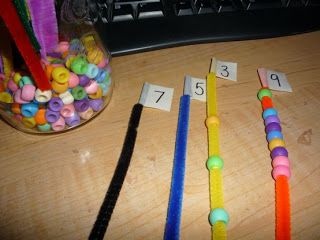 Pipe cleaners and beads for number recognition~Maybe altered to make Mother's Day bracelets in art.