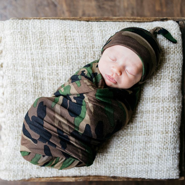 Camo Swaddle Blanket and Hat Set