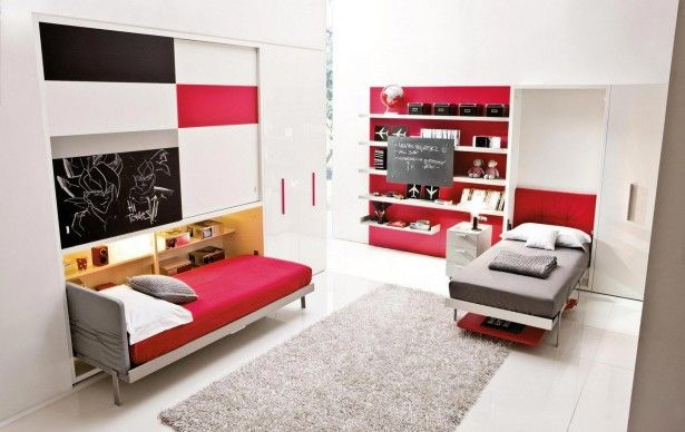 Cool Red And White Wall Paint And Knick Knack Shelves Feat Stylish Murphy Bed Plus Rectangular Fluffy Rug