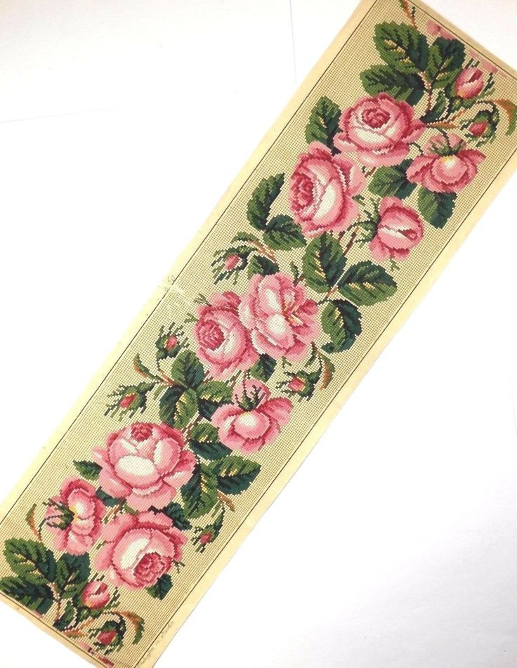A Fabulous Berlin WoolWork Rose Border Pattern Produced By A Philipson In Berlin